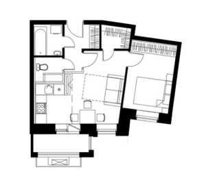 Планировка 3-комнатной квартиры в Лайково